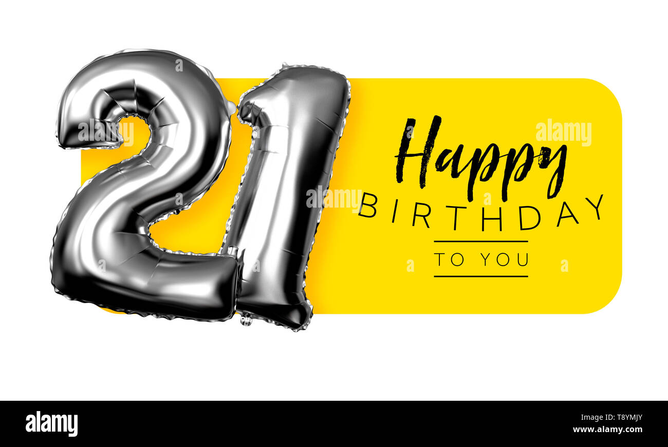 Happy 21st birthday yellow greeting background. 3D Rendering - Stock Image