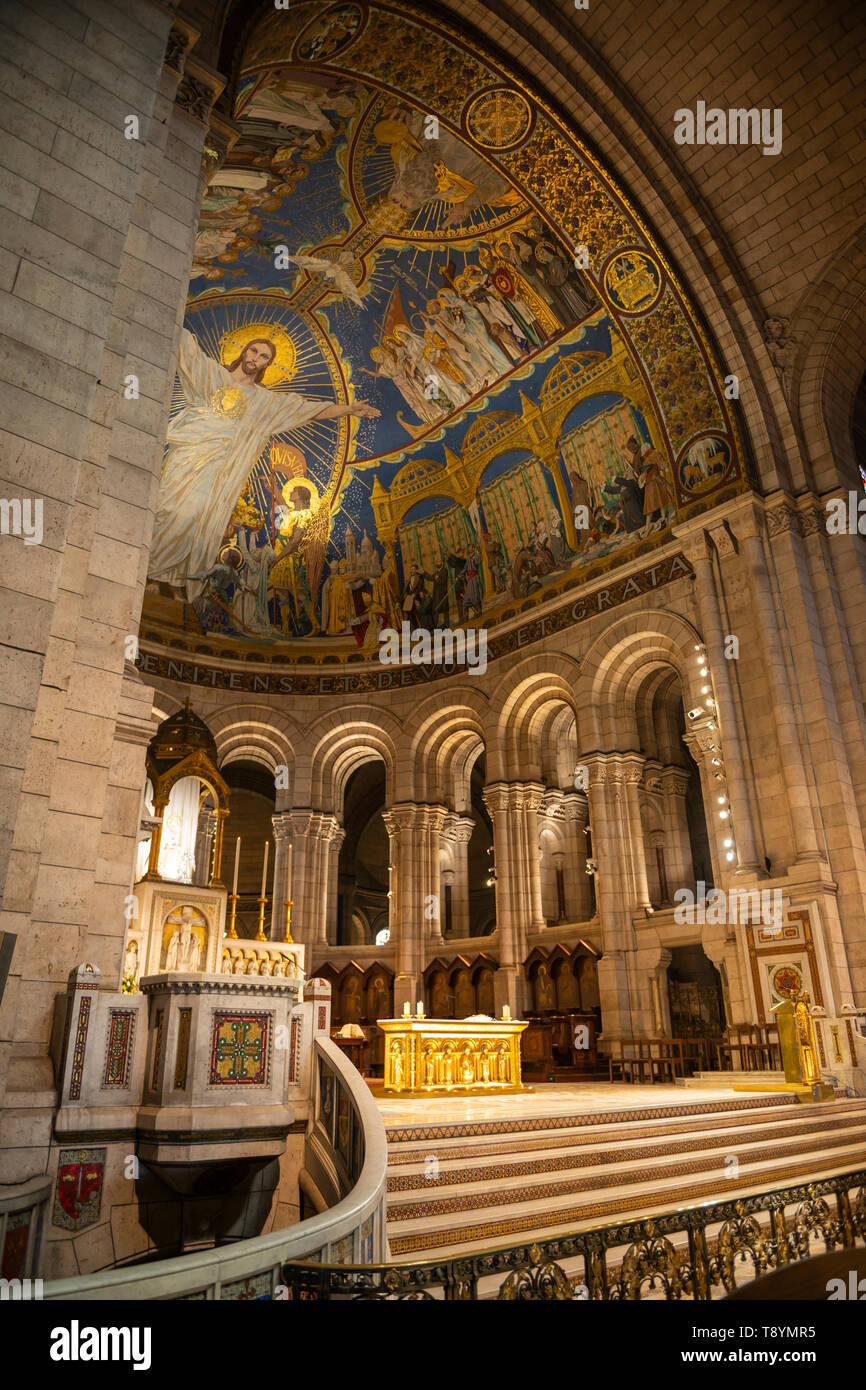 Interior of Sacre-Coeur Basilica in Montmartre, Paris, France Stock Photo