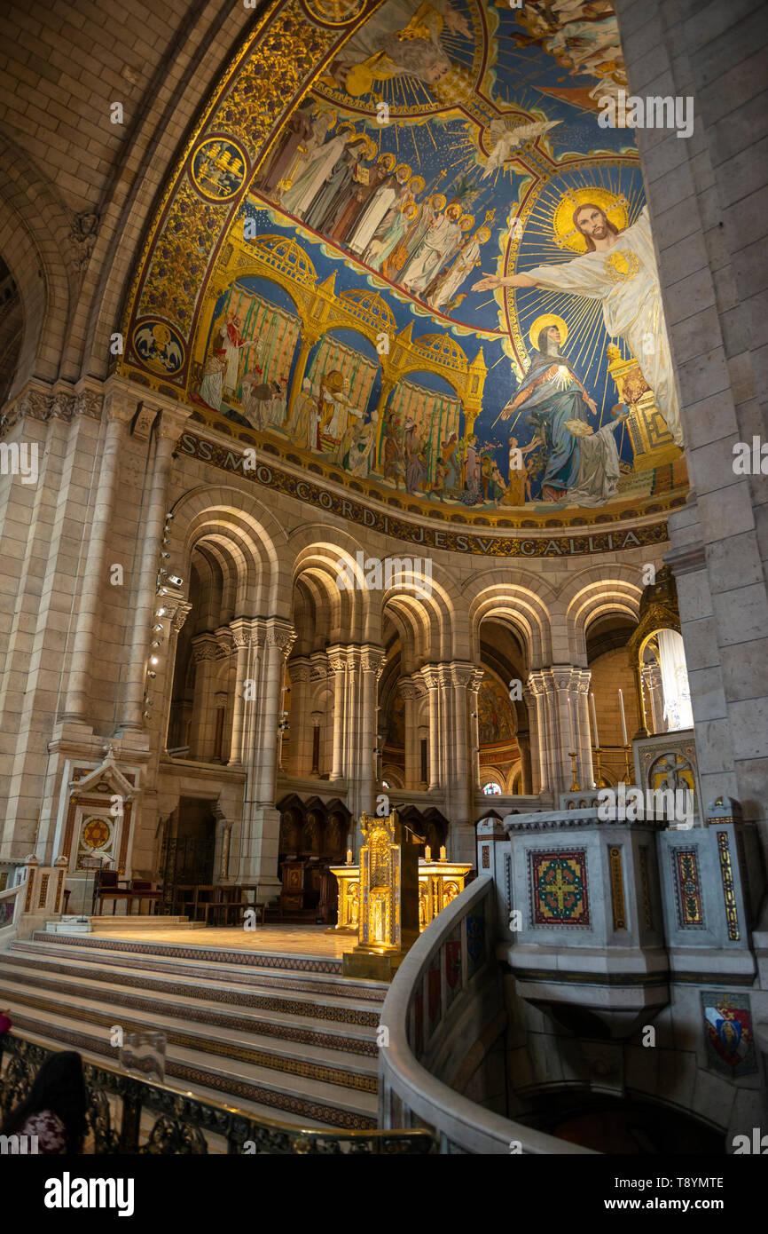 Interior of Sacre-Coeur Basilica in Montmartre, Paris, France Stock Photo