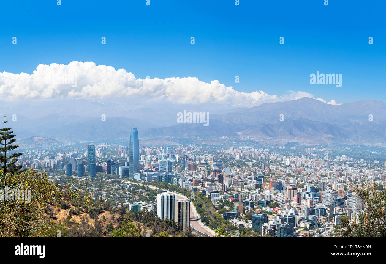 Santiago, Chile. View over the city from the summit of Cerro San Cristóbal (San Cristóbal Hill) looking towards Andes mountains, Santiago, Chile - Stock Image