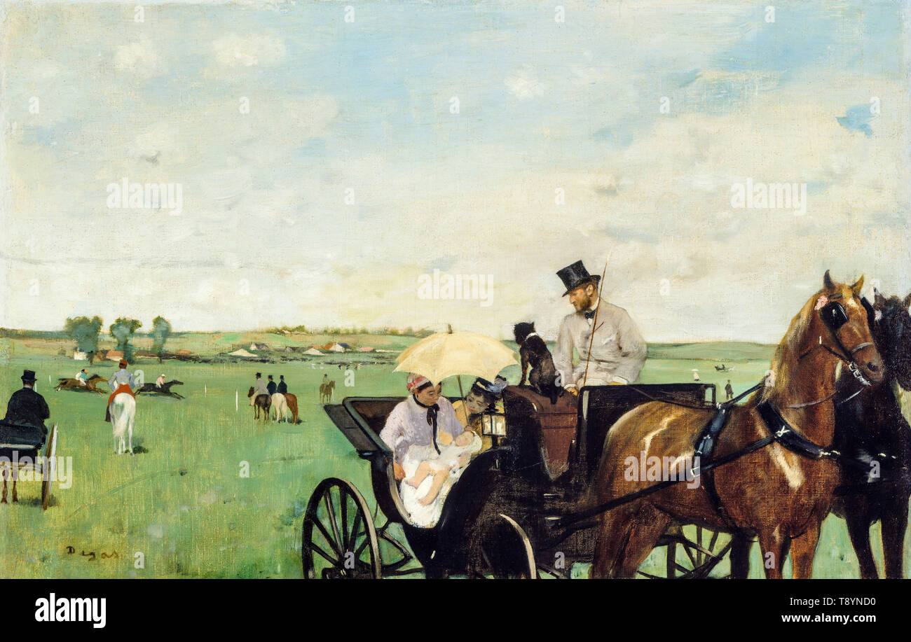 Edgar Degas, At the Races in the Countryside, painting, 1869 - Stock Image