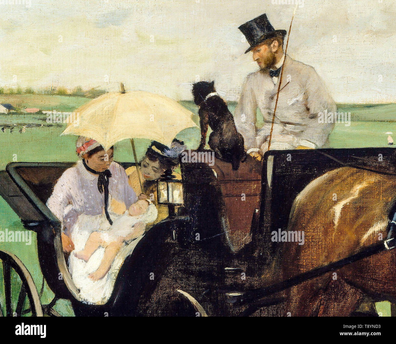 Edgar Degas, At the Races in the Countryside (detail), painting, 1869 - Stock Image