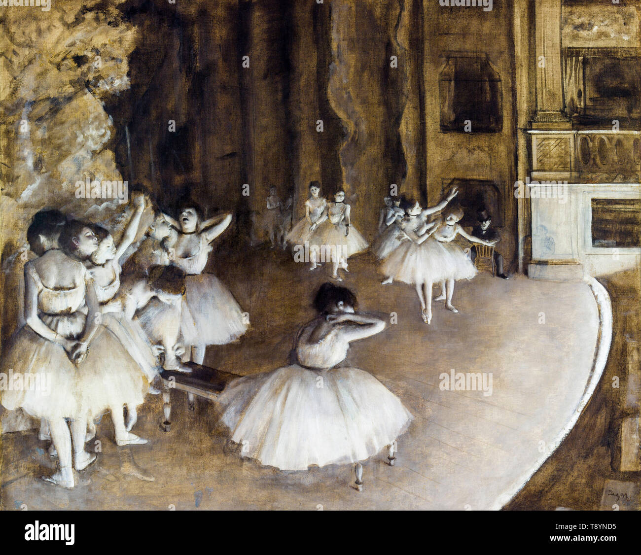 The Ballet Rehearsal on Stage, painting by Edgar Degas, 1874 - Stock Image