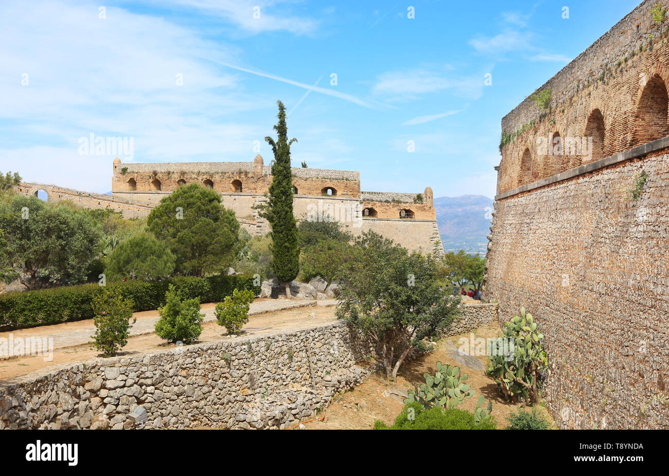 inside the Palamidi fortress in the town of Nafplio Argolis Greece - Stock Image