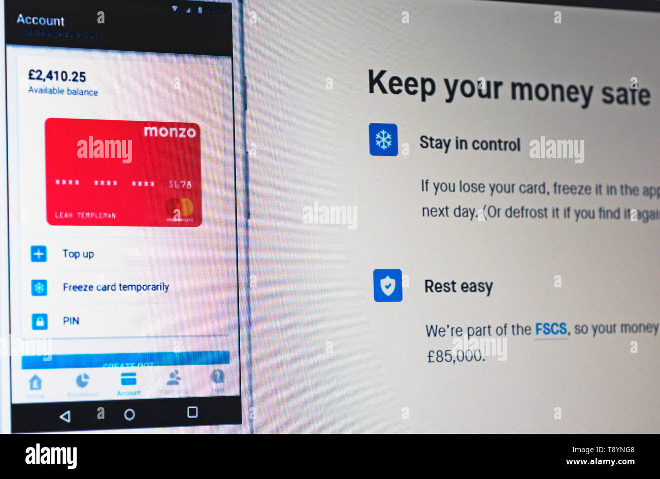 Monzo bank website screenshot - Stock Image