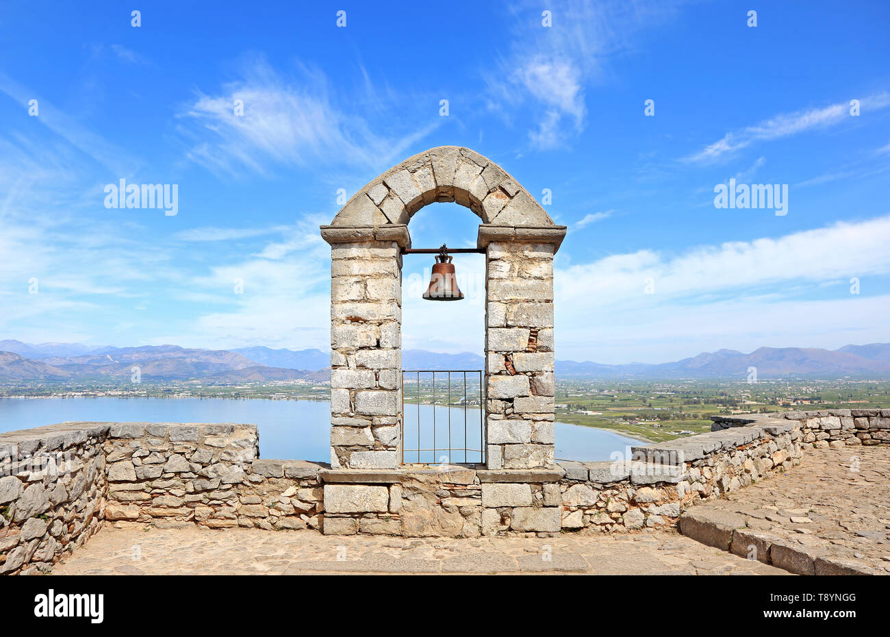 stony belfry at the top of Palamidi fortress Nafplio Greece - Stock Image