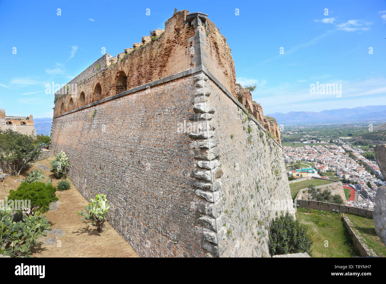 the Palamidi fortress in the town of Nafplio Argolis Greece - Stock Image