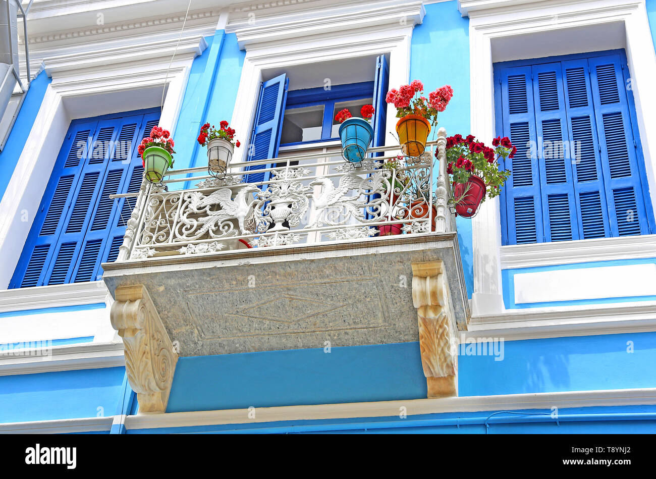 traditional house in blue and turquoise colors at Nafplio town Argolis Greece - Stock Image
