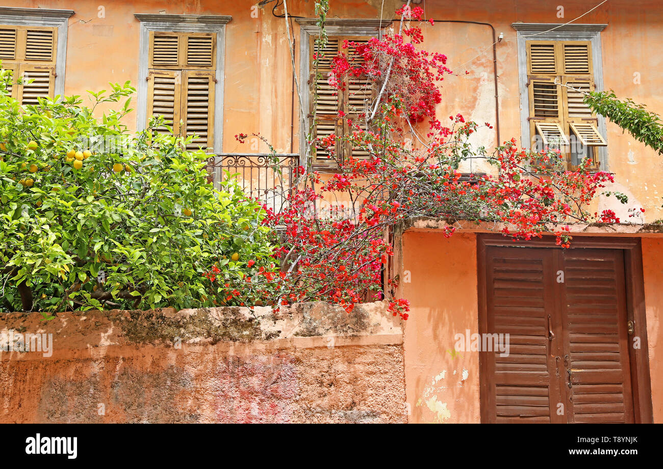 traditional old houses at Nafplio town Argolis Greece - Stock Image