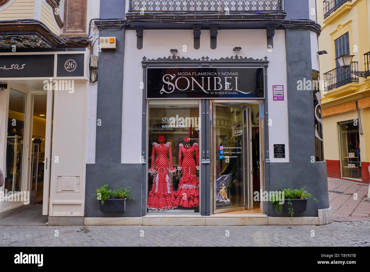 April 2019 Typical flamenco dress Shop in Seville, Andalusia, Spain - Stock Image