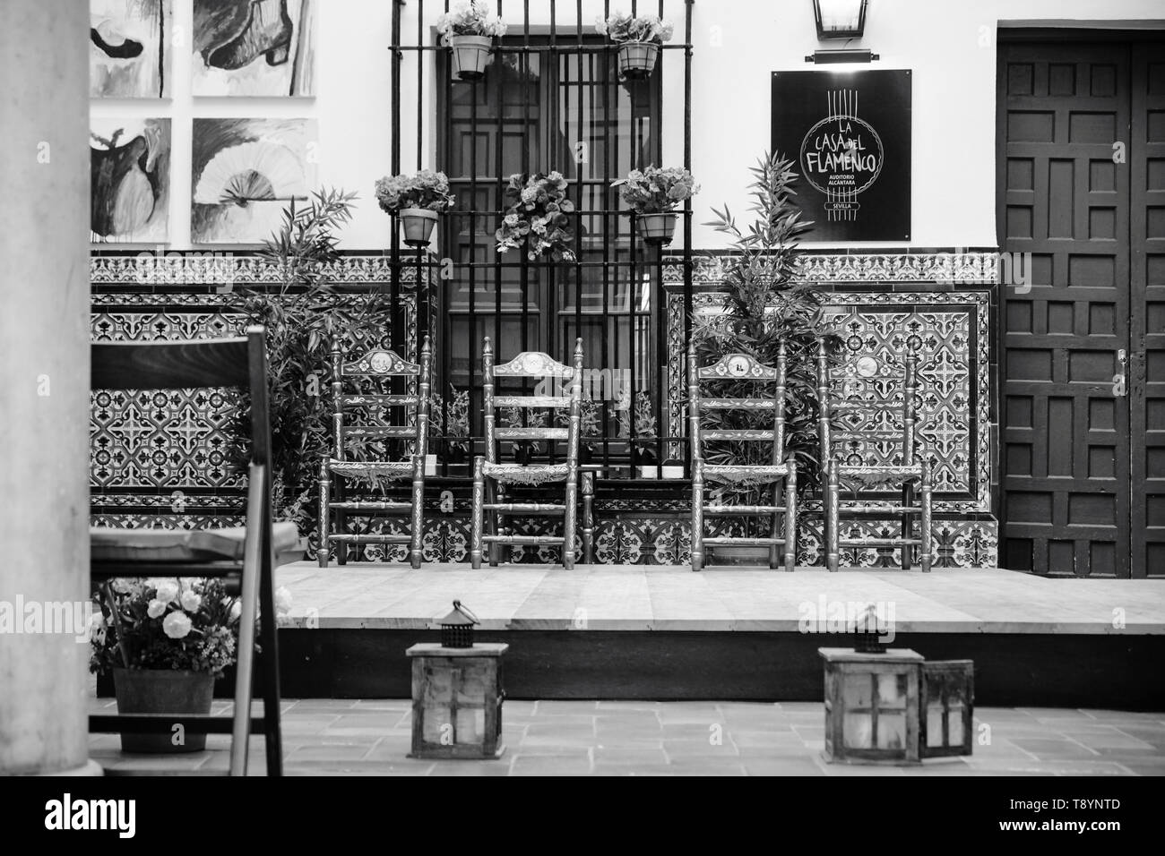April 2019 - traditional spanish place for flamenco house show dancer in Andalisia Seville Spain - Stock Image