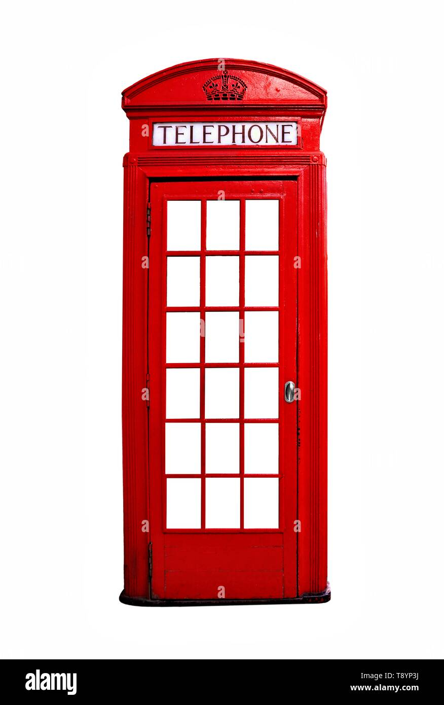Iconic red British telephone booth isolated on a white background - Stock Image