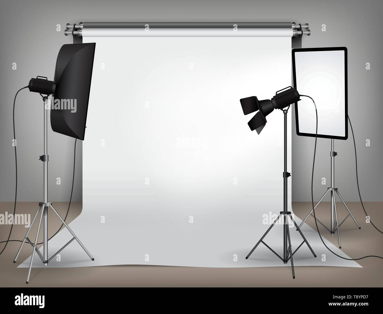 Realistic photo studio set up with lighting equipment and white backdrop - Stock Vector