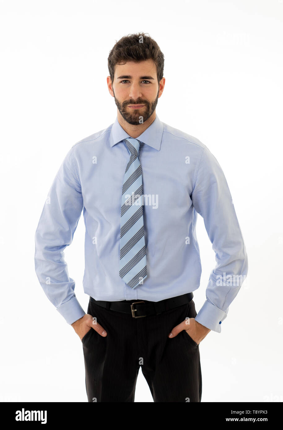 Business, successful people and office concept. Portrait of Happy confident hipster businessman smiling and . Smart Entrepreneur or Company leader CEO - Stock Image
