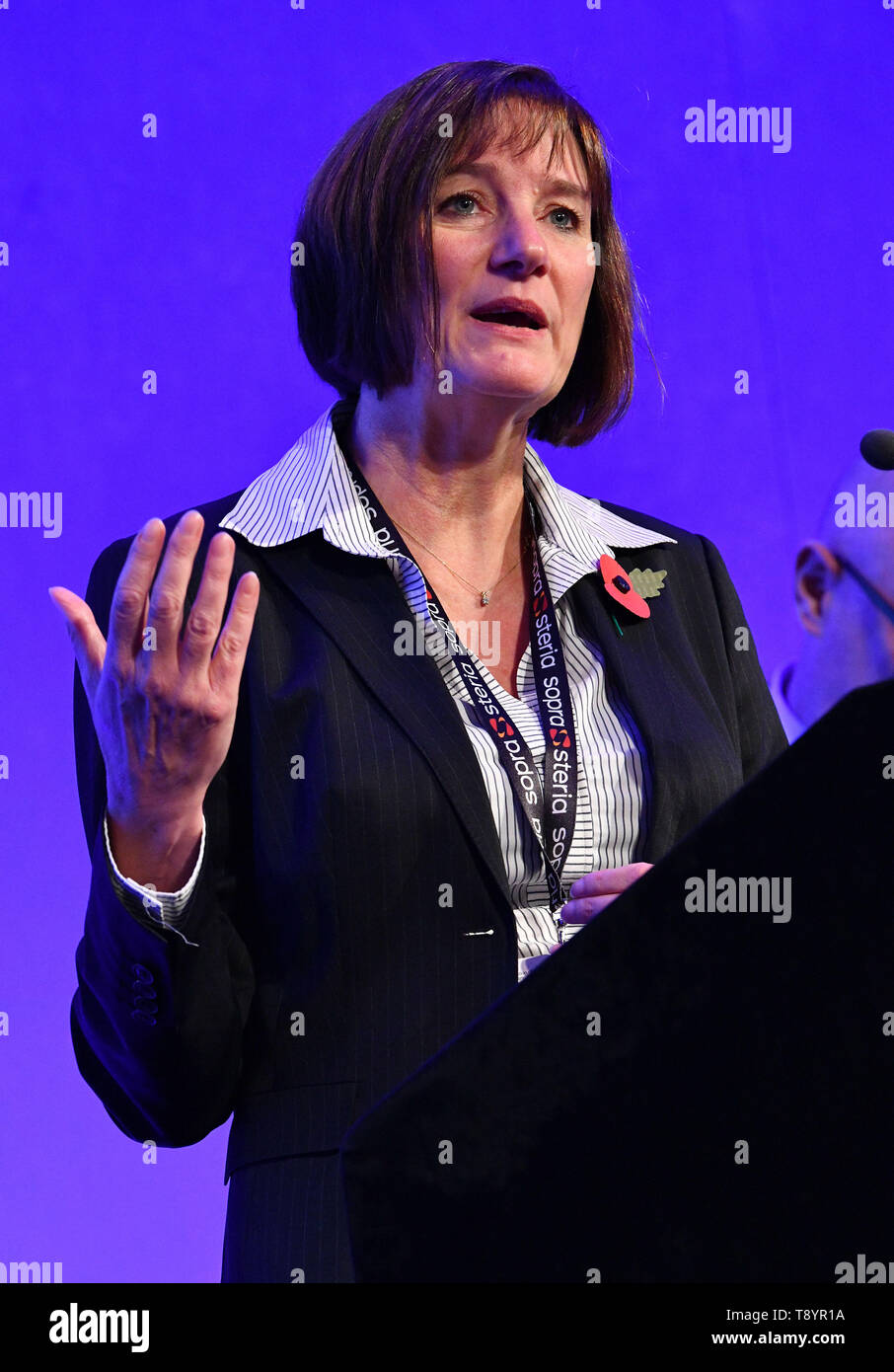 Director General of the National Crime Agency (NCA) Lynne Owens speaking to senior police officers at the APCC ( Association of Police & Crime Commissioners)and NPCC ( National Police Chiefs Council) Partnership Summit 2018 in London. 31 October 2018. - Stock Image