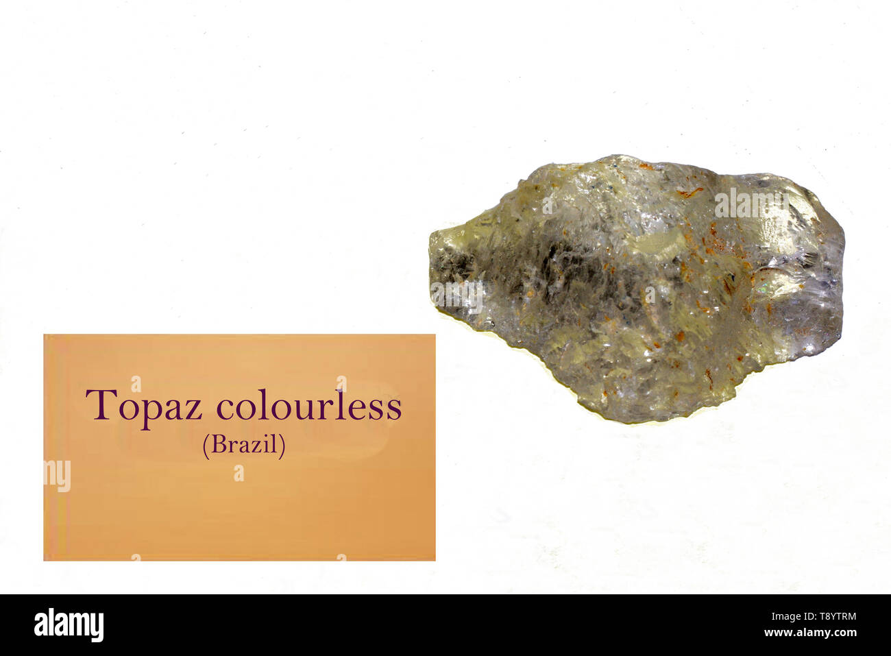 Topaz colourless rock of Brazil close-uo - Stock Image