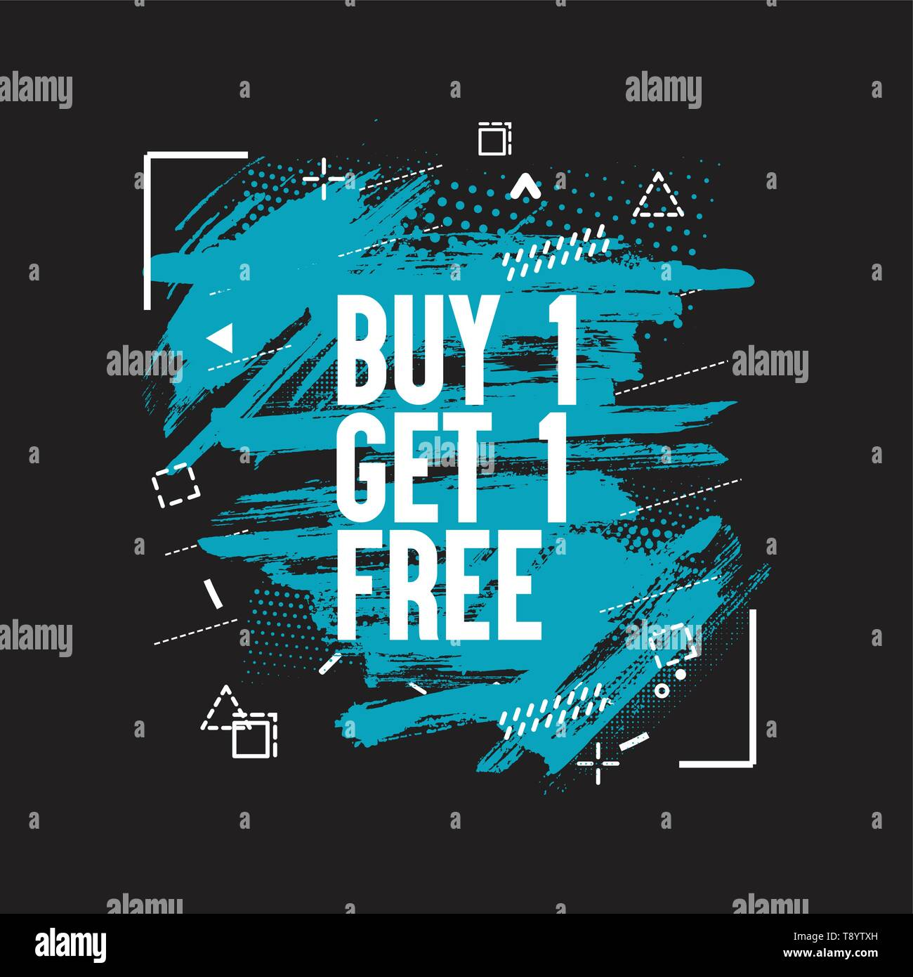 Buy 1 Get 1 Free sale sign over watercolor art brush stroke paint