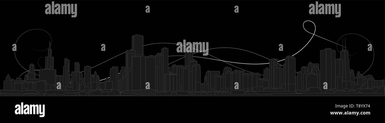 Chicago skyline, Illinois, USA. Hand drawn vector illustration, perfect for postcards or souvenirs. Black and grey outlines - Stock Vector