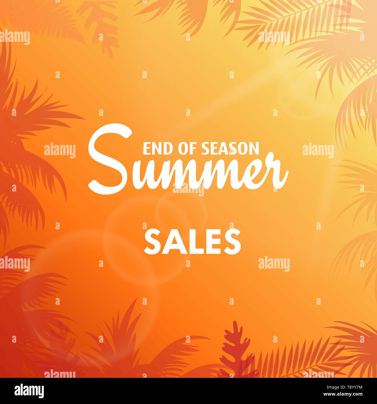 Summer sales greeting card with palm tree leaves. Vector - Stock Image