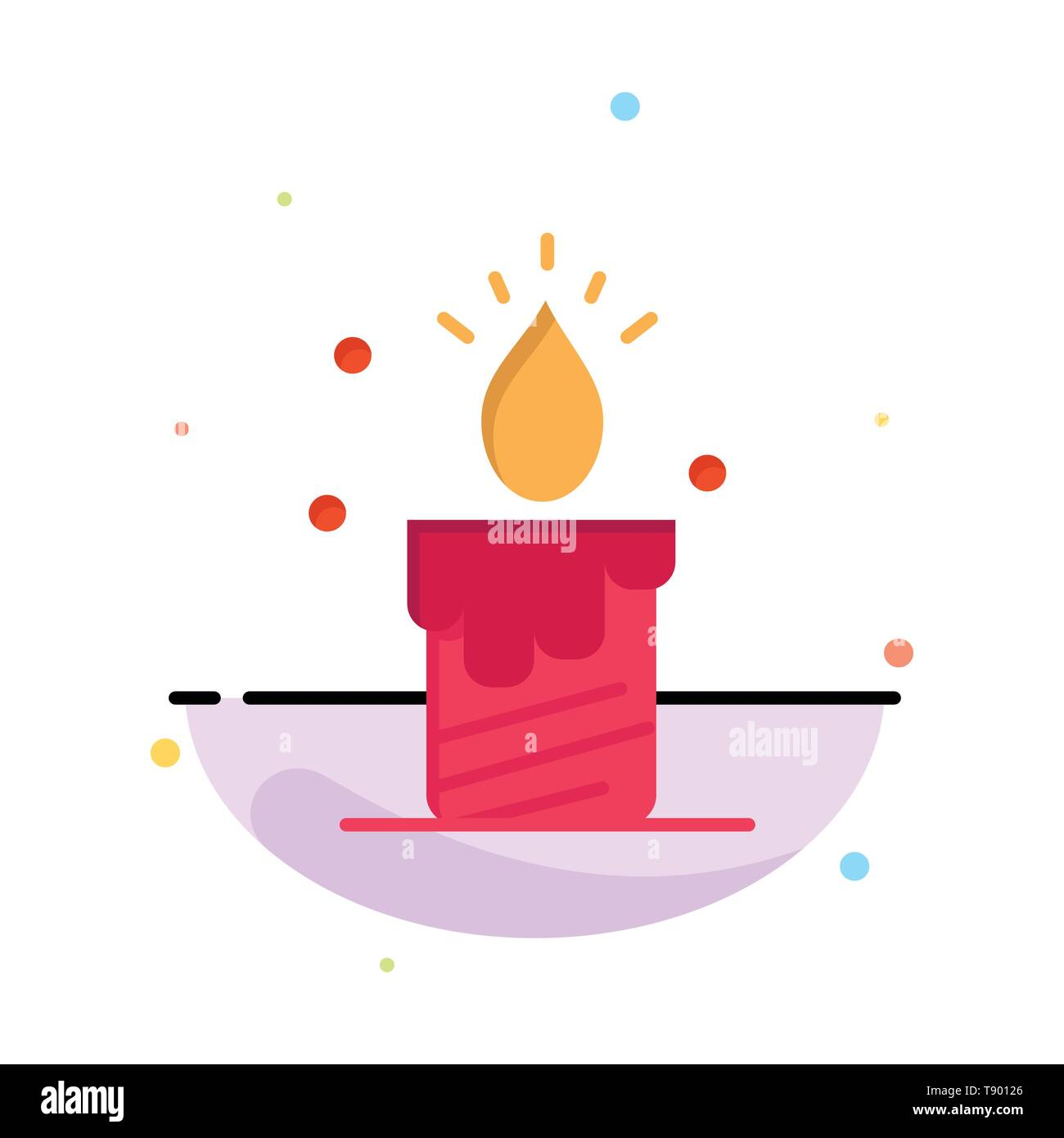 Candle, Light, Wedding, Love Abstract Flat Color Icon Template - Stock Image