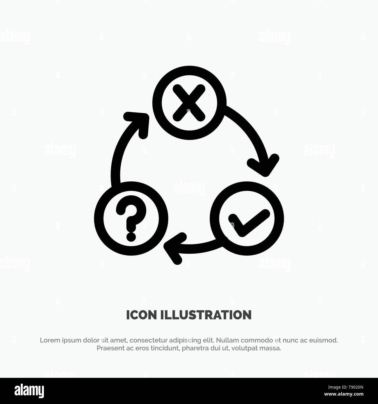 Daily, Flow, Issues, Organization, Realization Line Icon Vector - Stock Vector