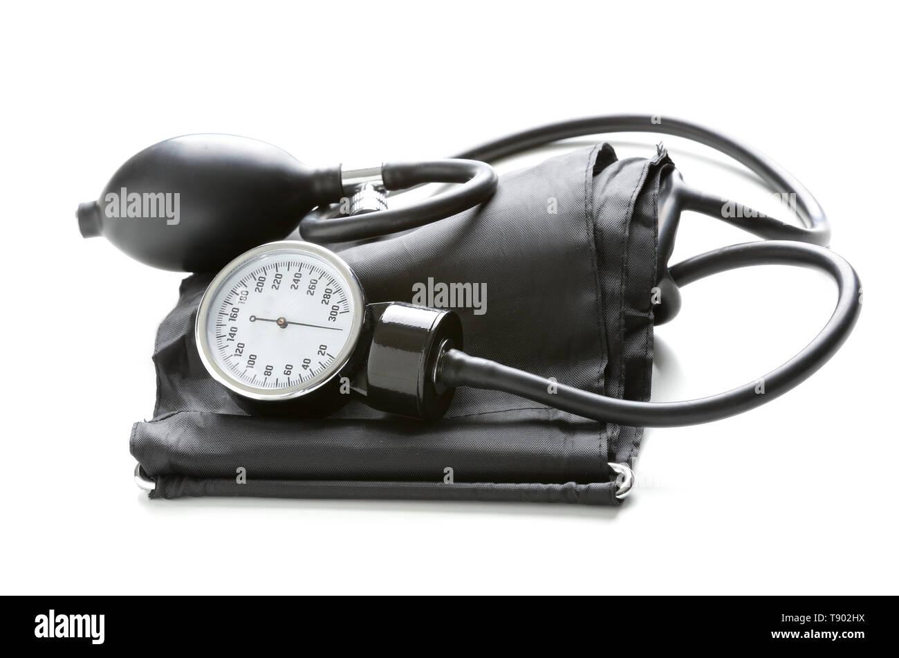 Sphygmomanometer on white background - Stock Image