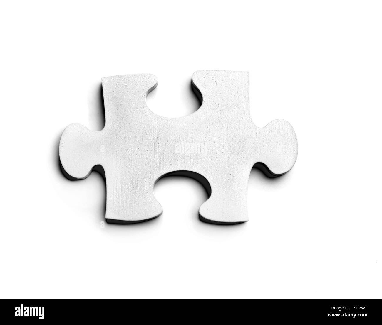 Piece of jigsaw puzzle on white background - Stock Image