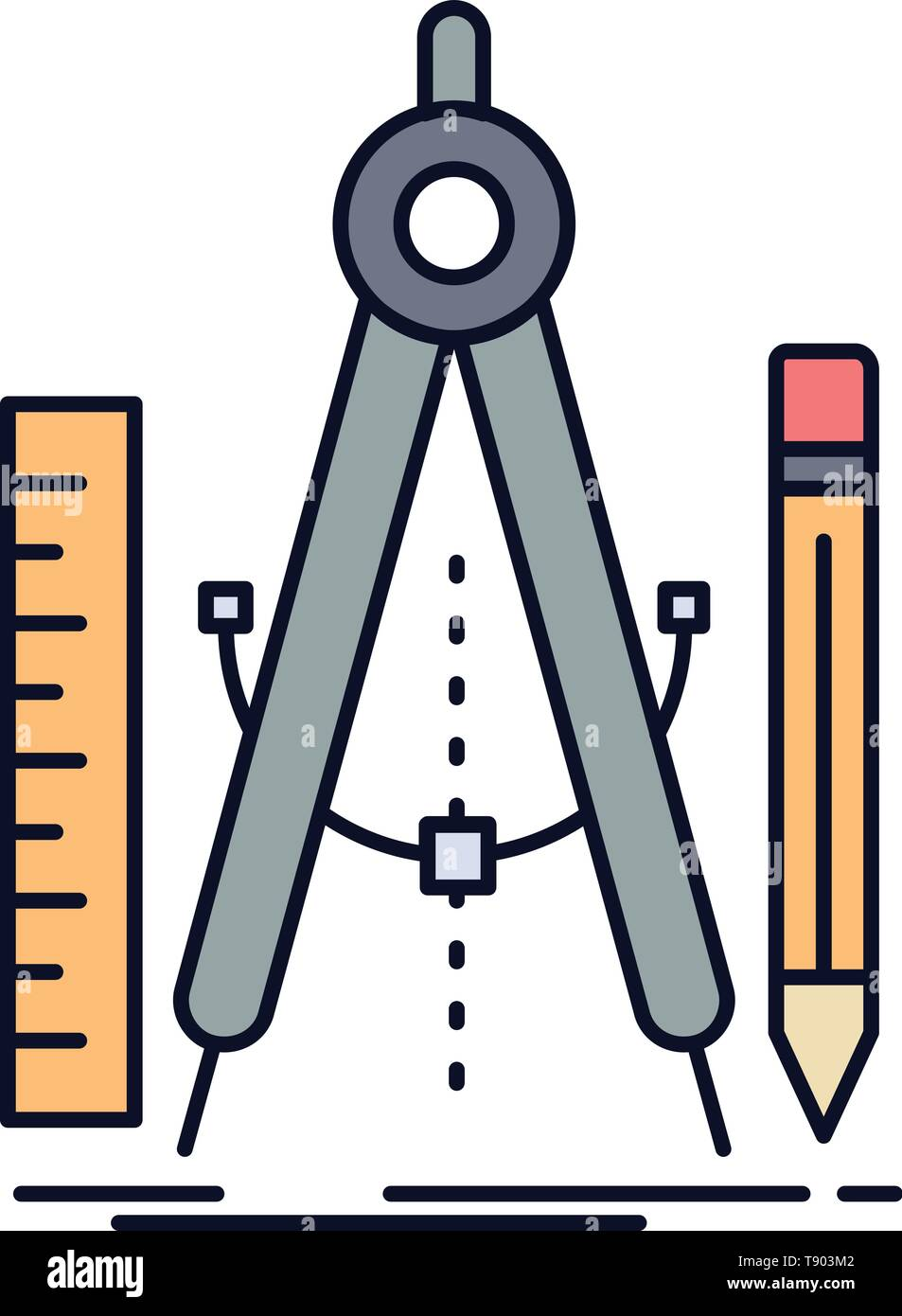 Build, design, geometry, math, tool Flat Color Icon Vector - Stock Vector