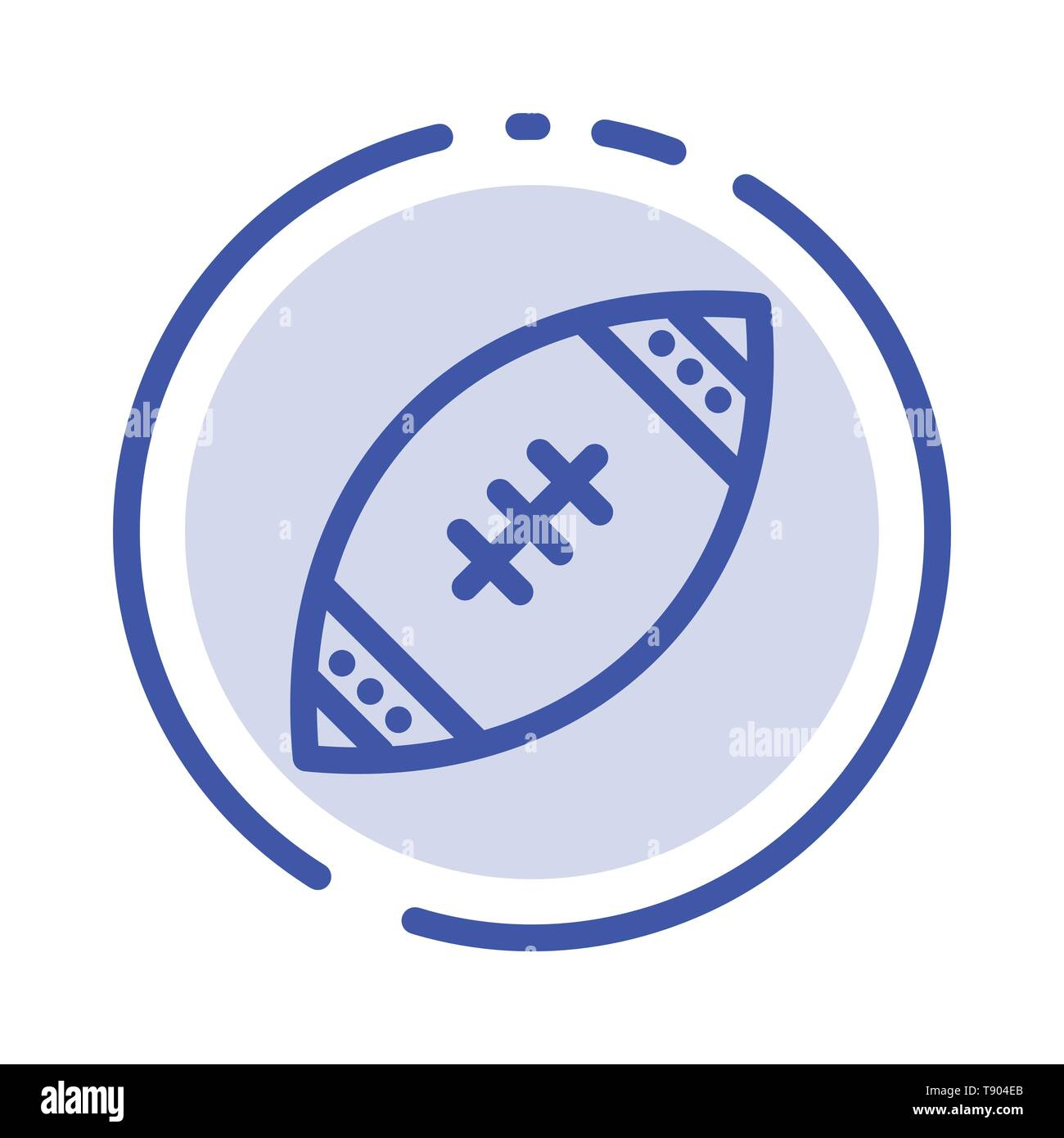 American, Ball, Football, Nfl, Rugby Blue Dotted Line Line Icon - Stock Image