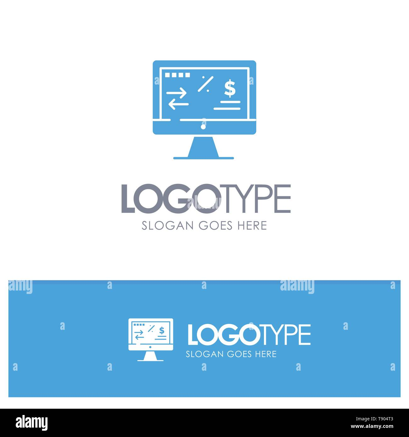 Tax Regulation, Finance, Income, Computer Blue Solid Logo with place for tagline - Stock Vector