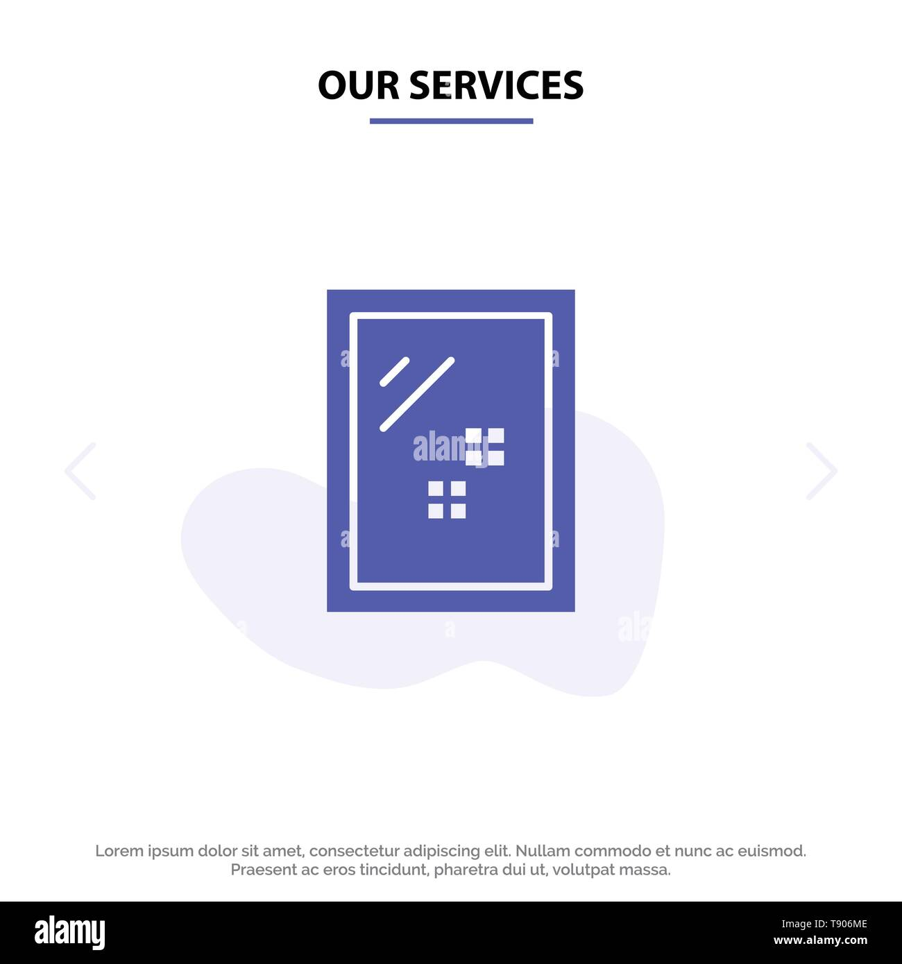 Our Services Door, Mirror, Cleaning, Wash Solid Glyph Icon Web card Template Stock Vector