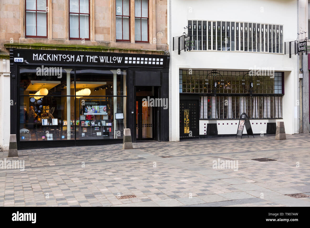 The front façade of Mackintosh at the Willow Tea Rooms and Visitor centre on Sauchiehall Street in Glasgow city centre, Scotland, UK Stock Photo