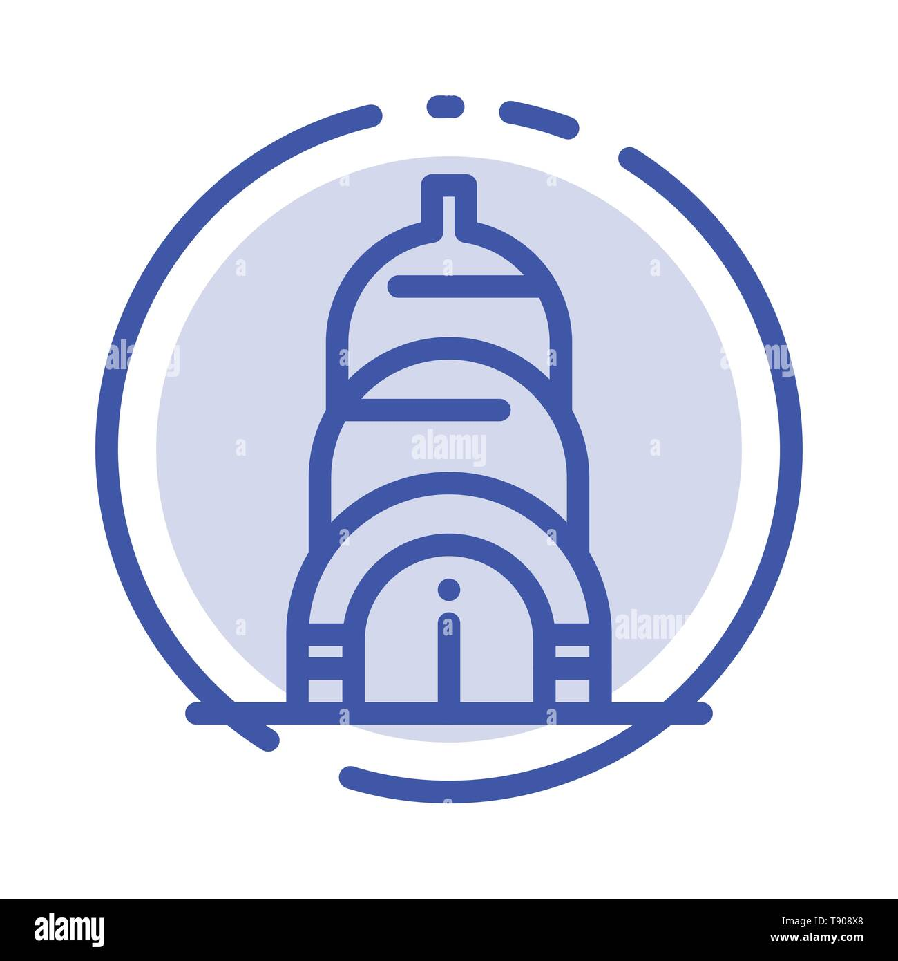 Chrysler, Building, Usa Blue Dotted Line Line Icon - Stock Vector