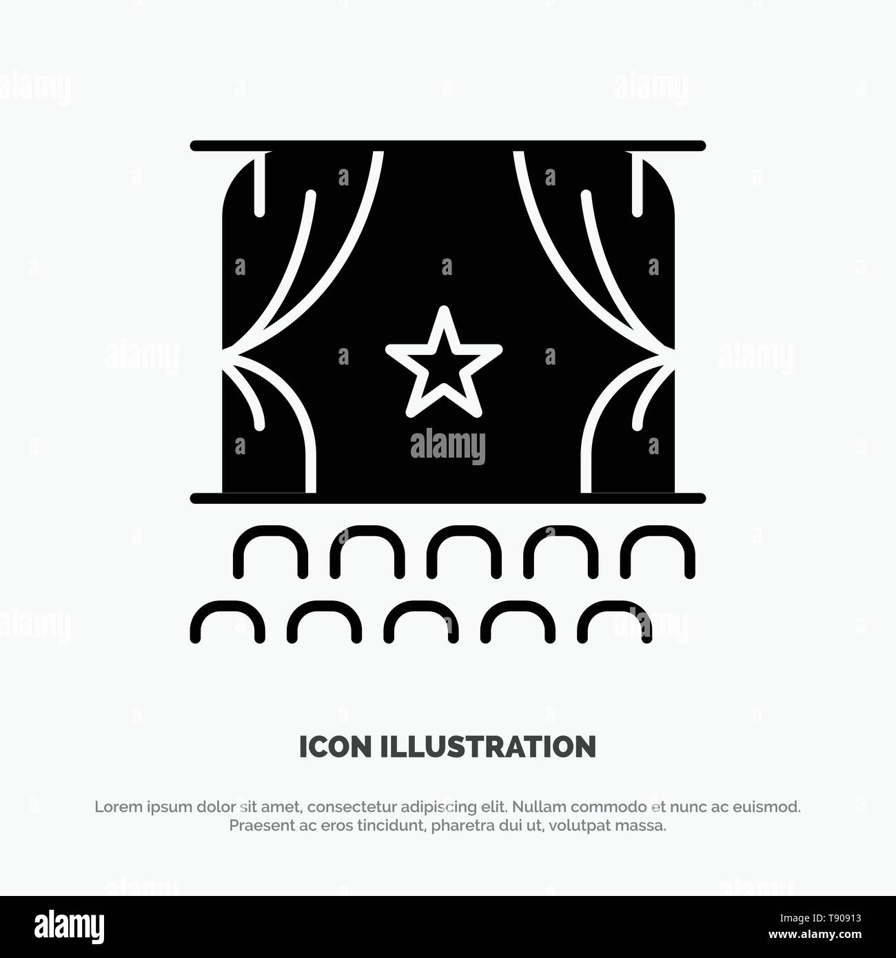 Cinema, Debut, Film, Performance, Premiere solid Glyph Icon vector - Stock Image