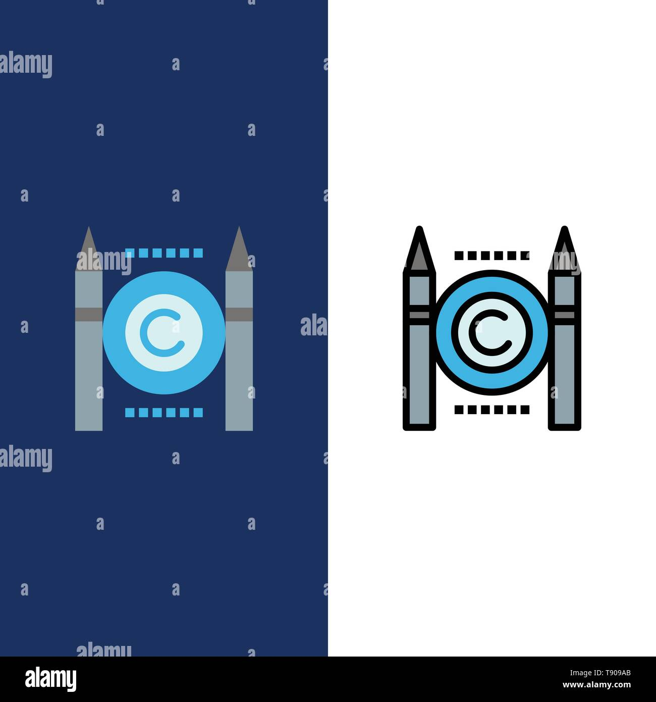 Business, Conflict, Copyright, Digital  Icons. Flat and Line Filled Icon Set Vector Blue Background - Stock Image