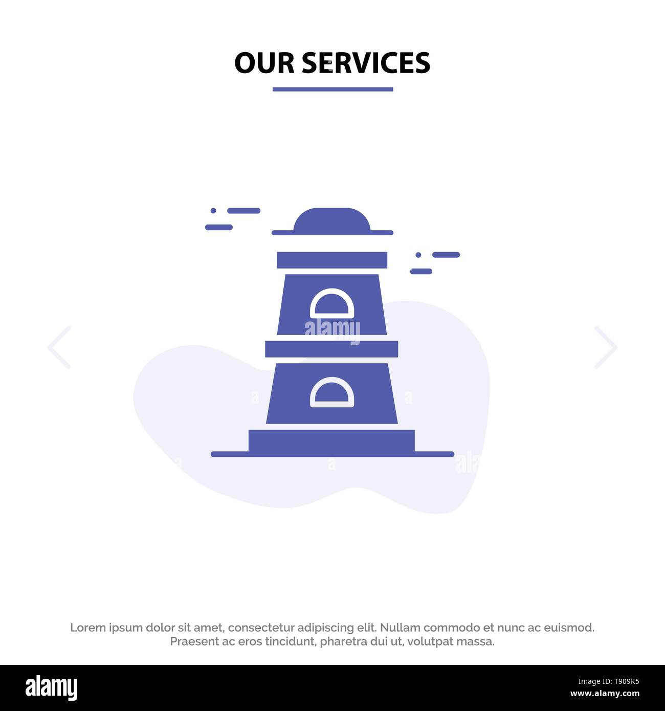 Our Services Observatory, Tower, Watchtower Solid Glyph Icon Web card Template - Stock Vector