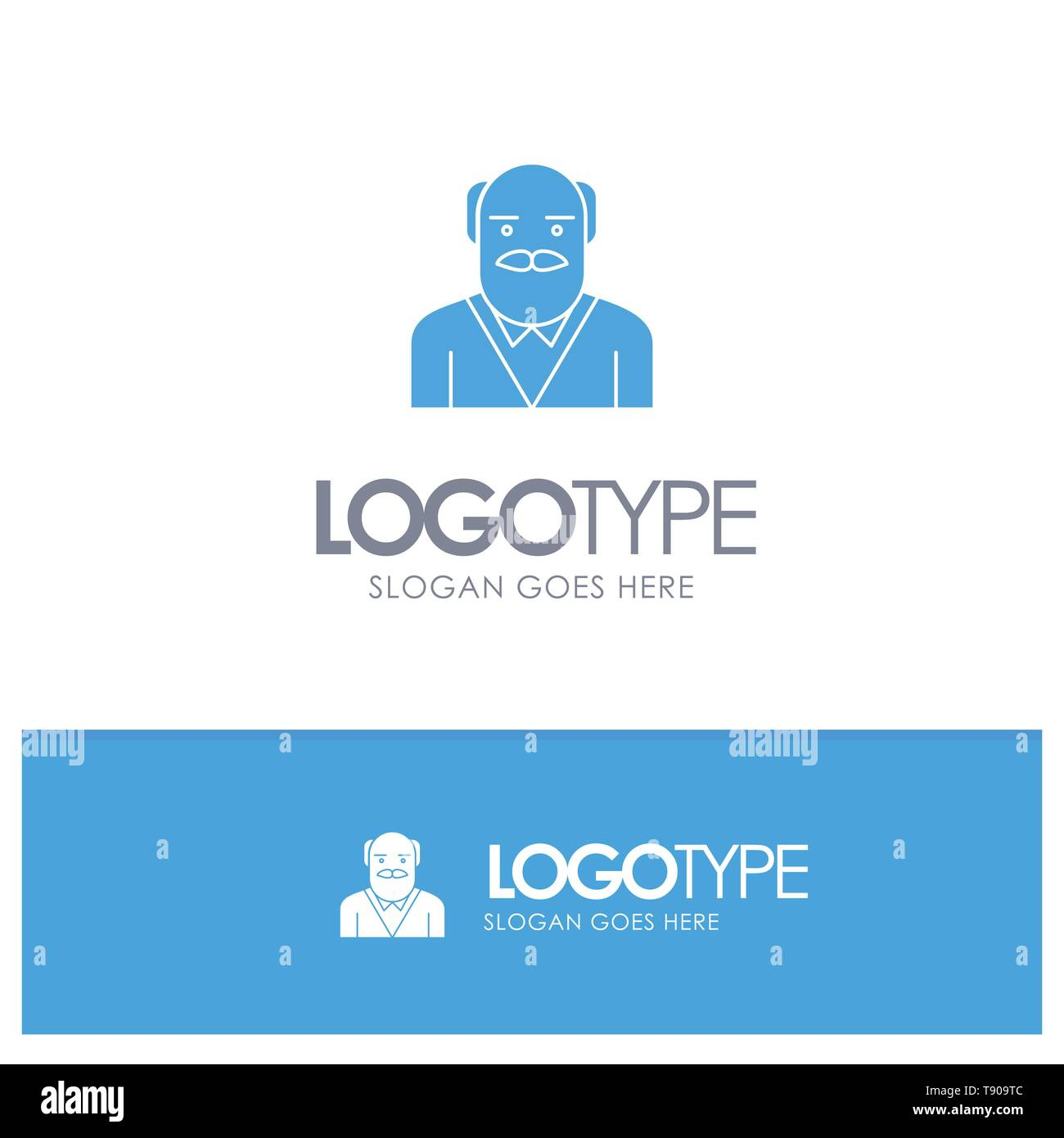 Grandpa, Father, Old Man, Uncle Blue Solid Logo with place for tagline - Stock Vector