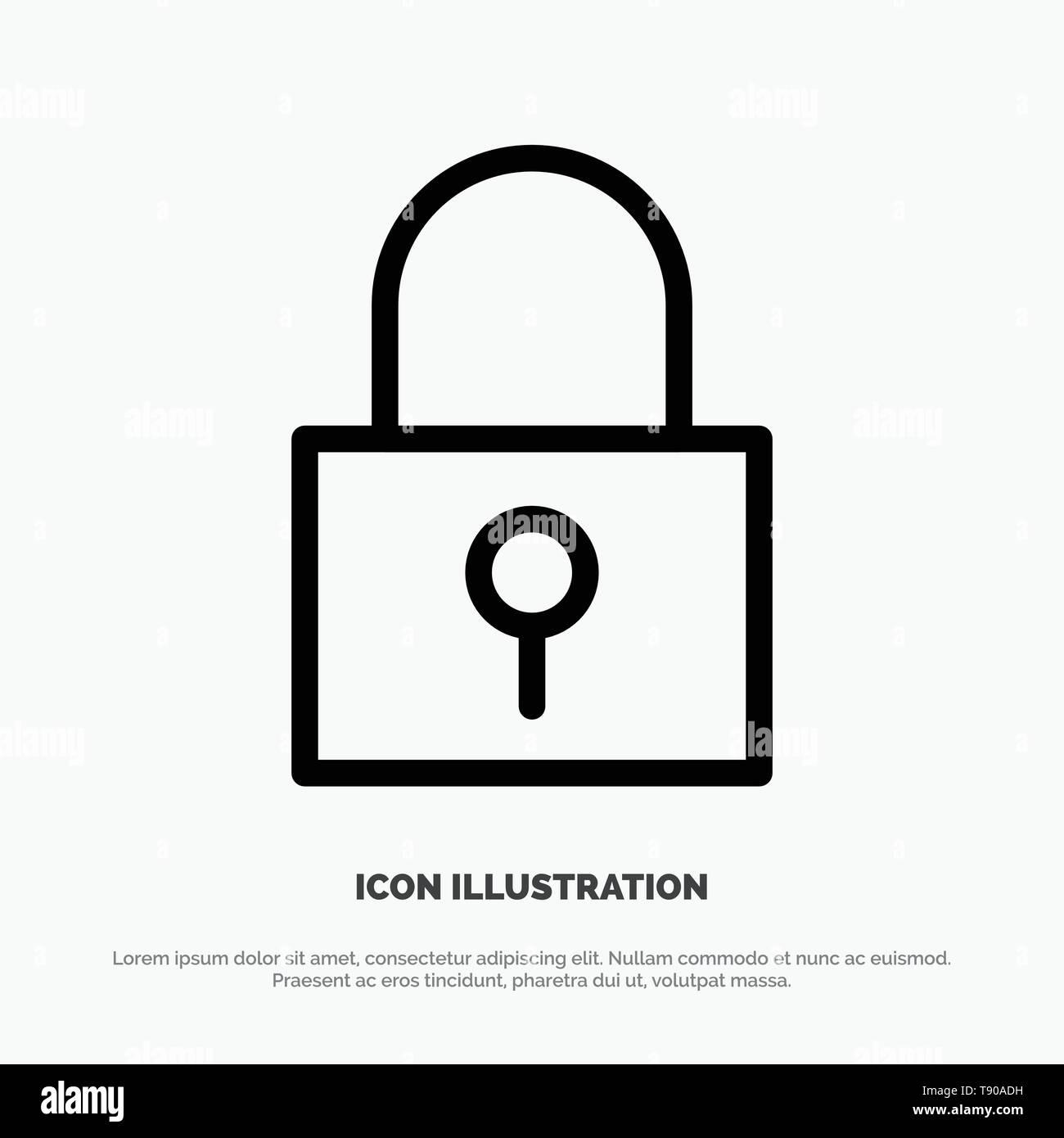 Lock, Password, Password Lock, Secure Password Line Icon Vector - Stock Image