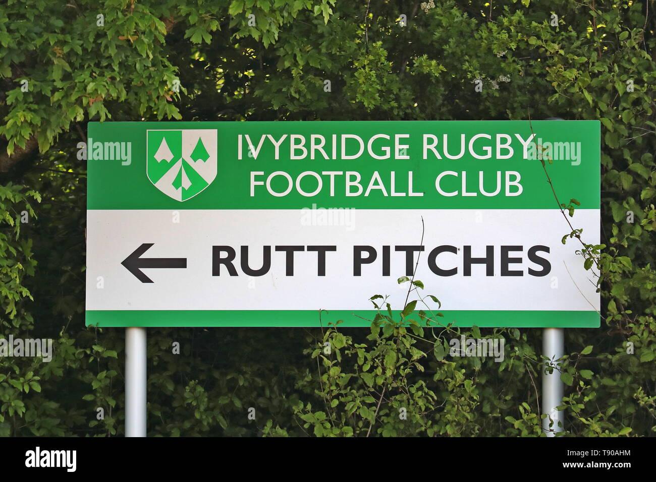 Ivybridge Rugby Club Sign, Rutt Pitches, Devon Stock Photo