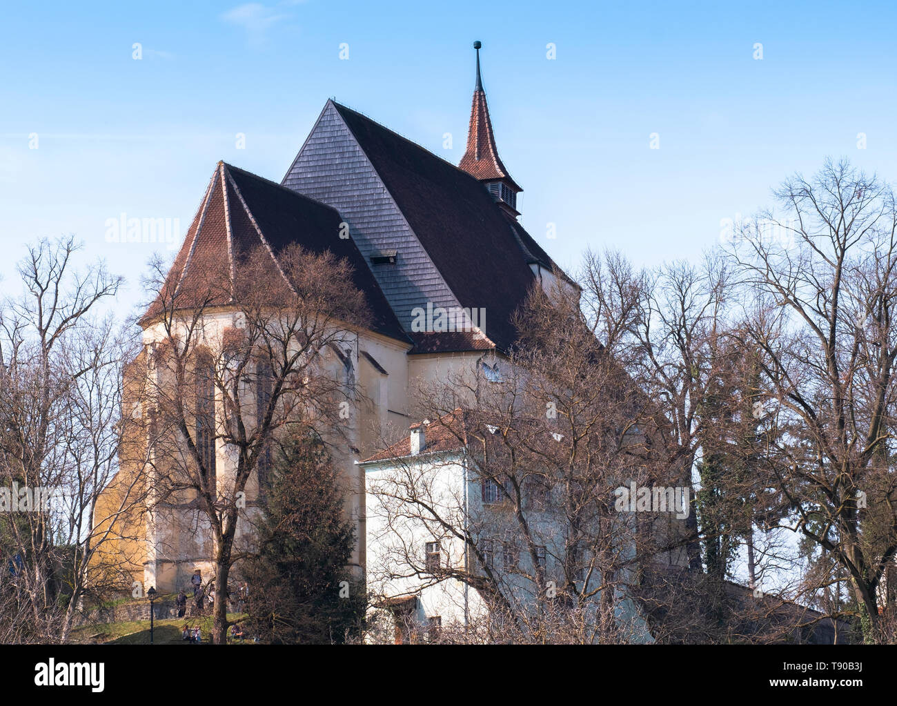 Biserica din Deal, translated as Church on the Hill, one of the symbols of the town of Sighisoara, on a sunny day. - Stock Image