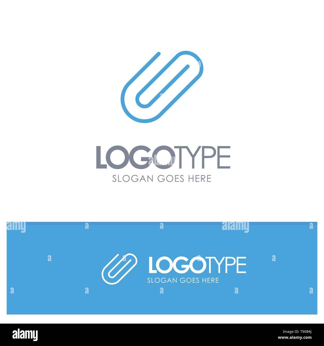 Attachment, Attach, Clip, Add Blue Solid Logo with place for tagline - Stock Vector