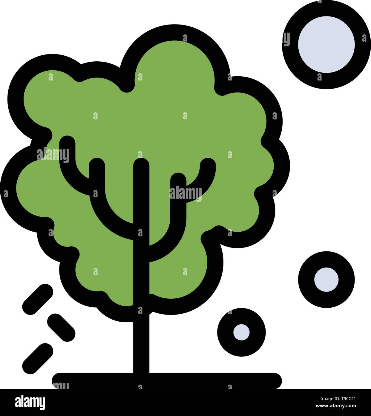 Dry, Global, Soil, Tree, Warming  Flat Color Icon. Vector icon banner Template - Stock Image