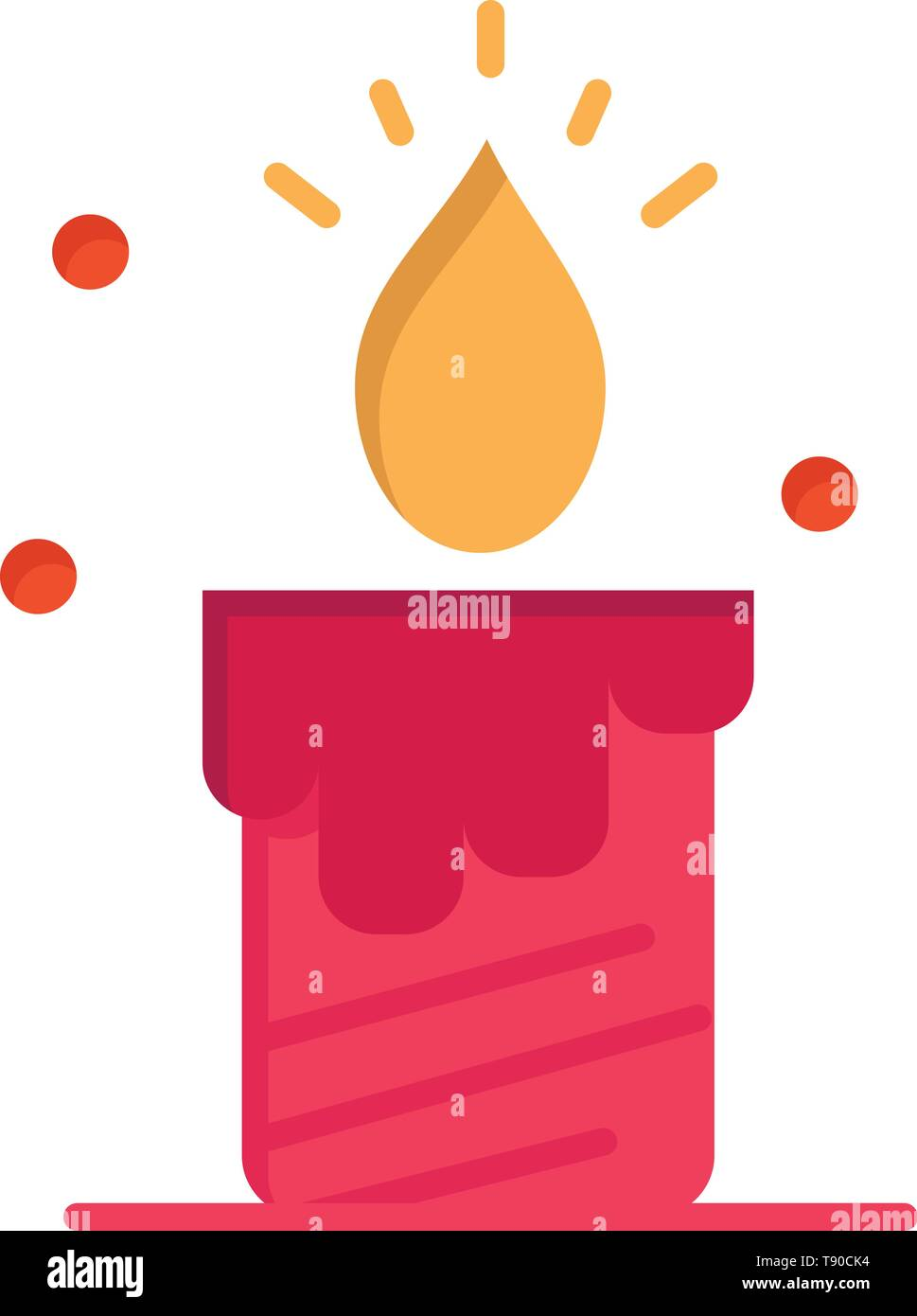 Candle, Light, Wedding, Love  Flat Color Icon. Vector icon banner Template - Stock Image