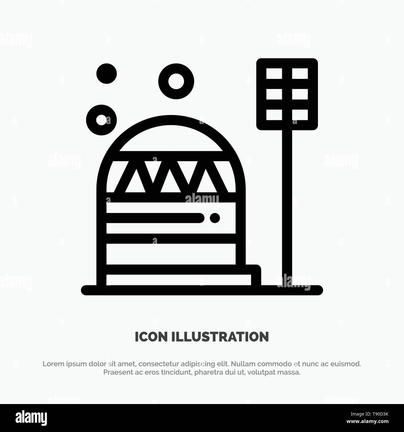 Base, Colony, Construction, Dome, Habitation Line Icon Vector - Stock Vector