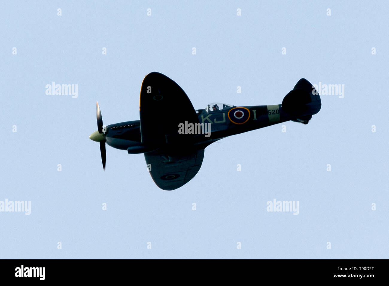 Spitfire,fighter,plane,flying,over,isle of Wight,two,seater, modern, - Stock Image