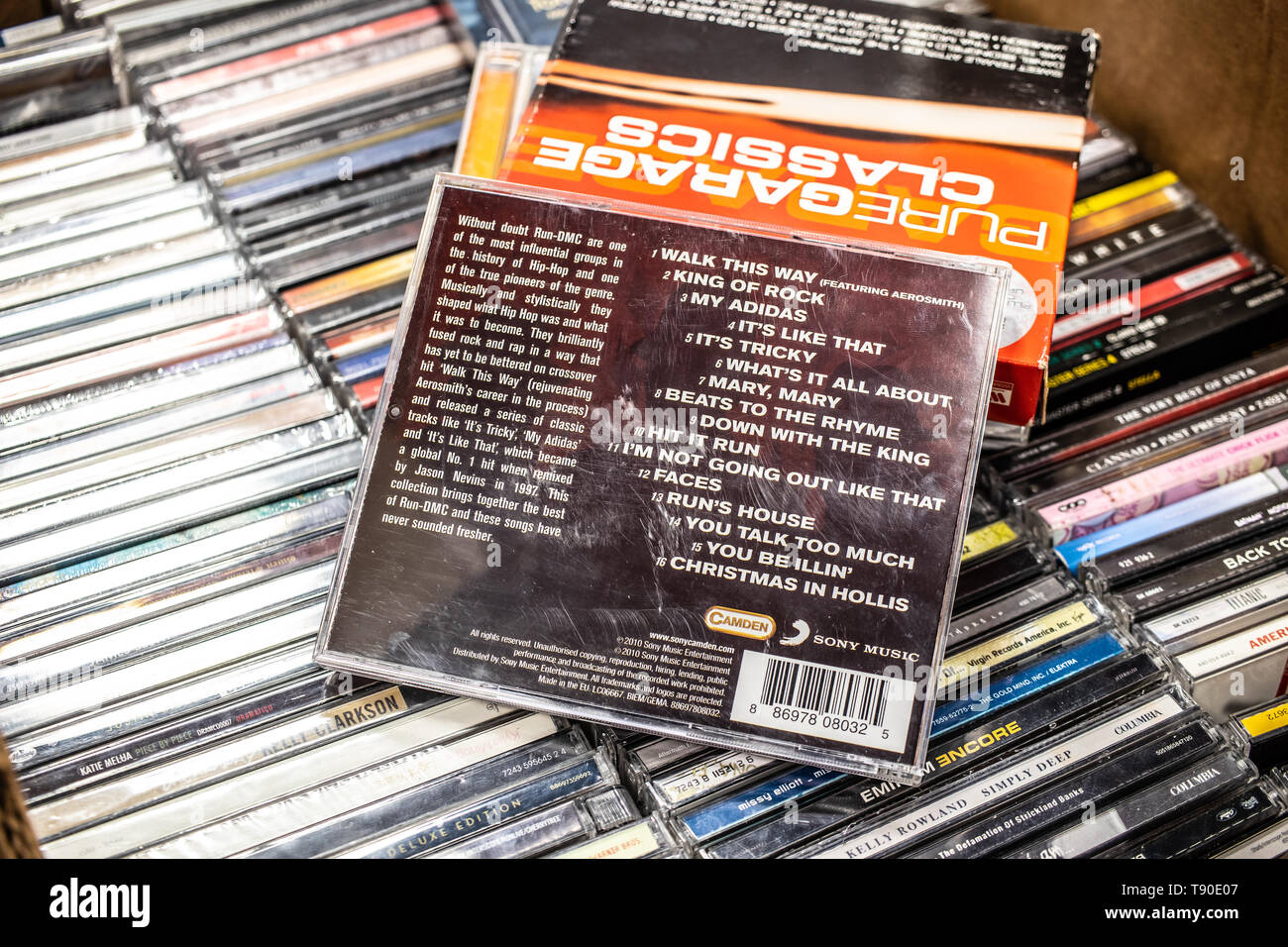 Nadarzyn, Poland, May 11, 2019: Run-DMC CD album Walk this way, the best of on display for sale, famous American hip hop group, collection of CD music - Stock Image