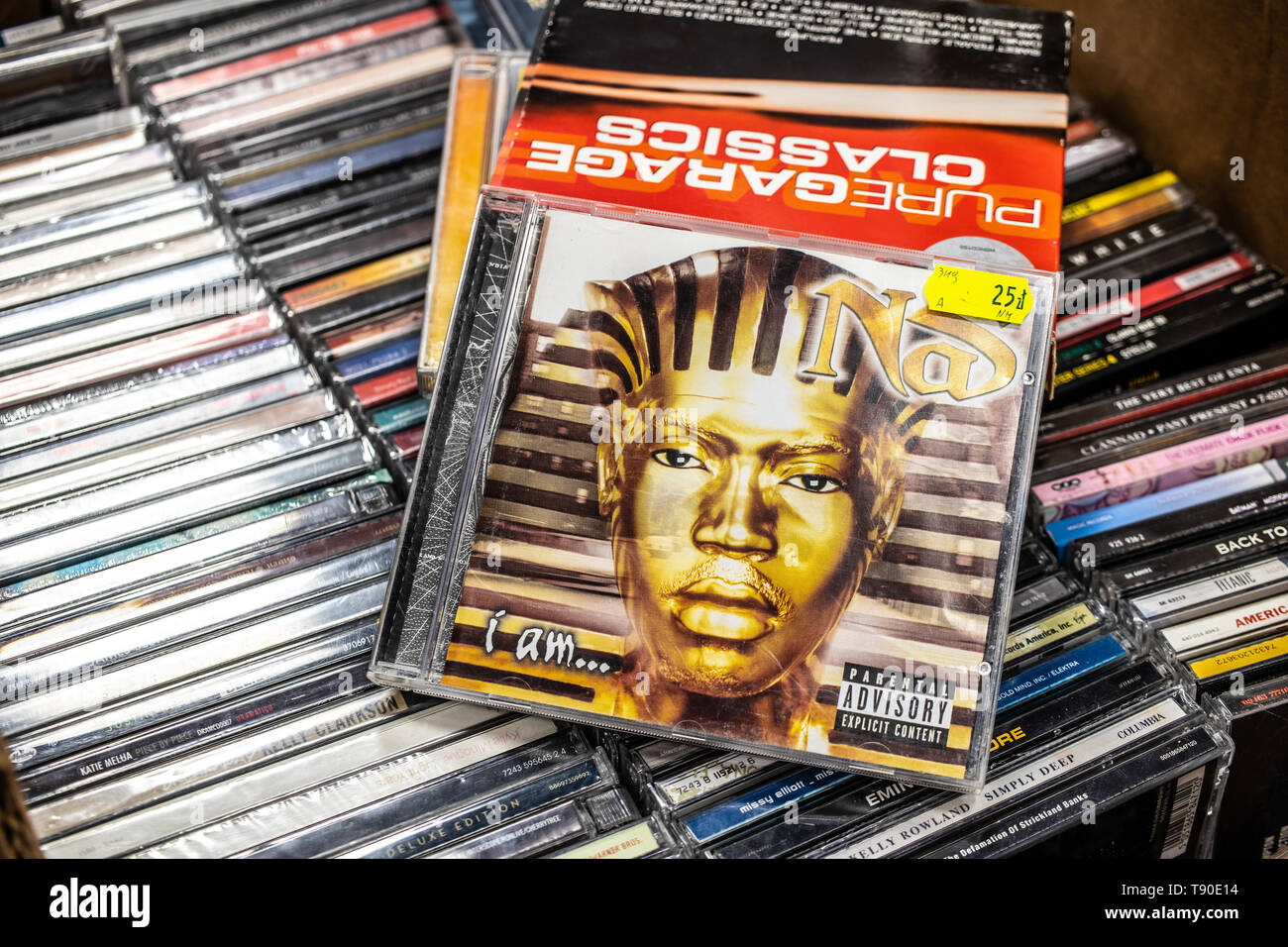 Nadarzyn, Poland, May 11, 2019: Nas CD album I Am... 1999 on display for sale, famous American rapper, songwriter, collection of CD music albums - Stock Image