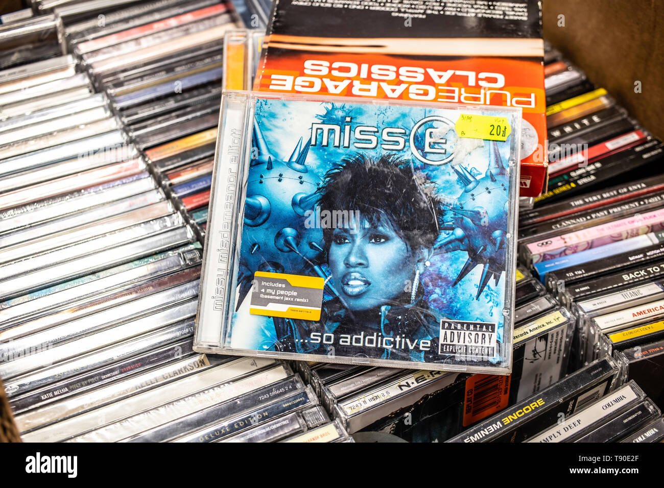 Nadarzyn, Poland, May 11, 2019: Missy Misdemeanor Elliott CD album MissE So Addictive 2001 on display for sale, famous American rapper, singer - Stock Image