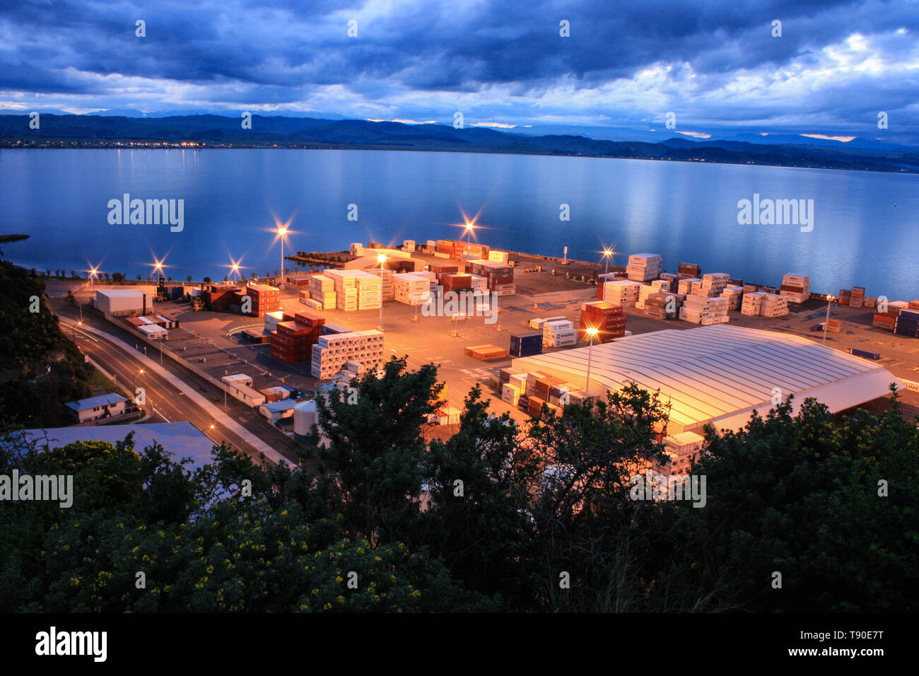 Napier, New Zealand - September 07th, 2010: Panoramic view on the container terminal in the port of Napier. - Stock Image