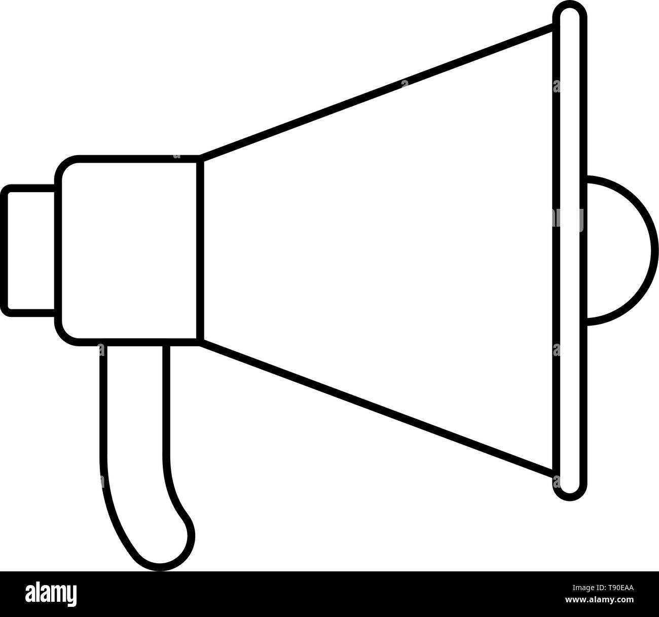 megaphone silhouette with white background Stock Vector